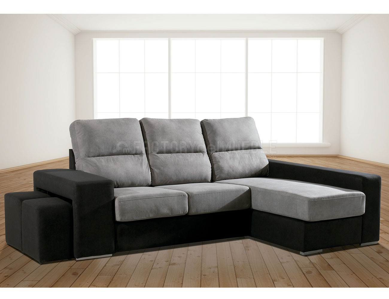 Sofa chaiselongue con dos pufs taburetes