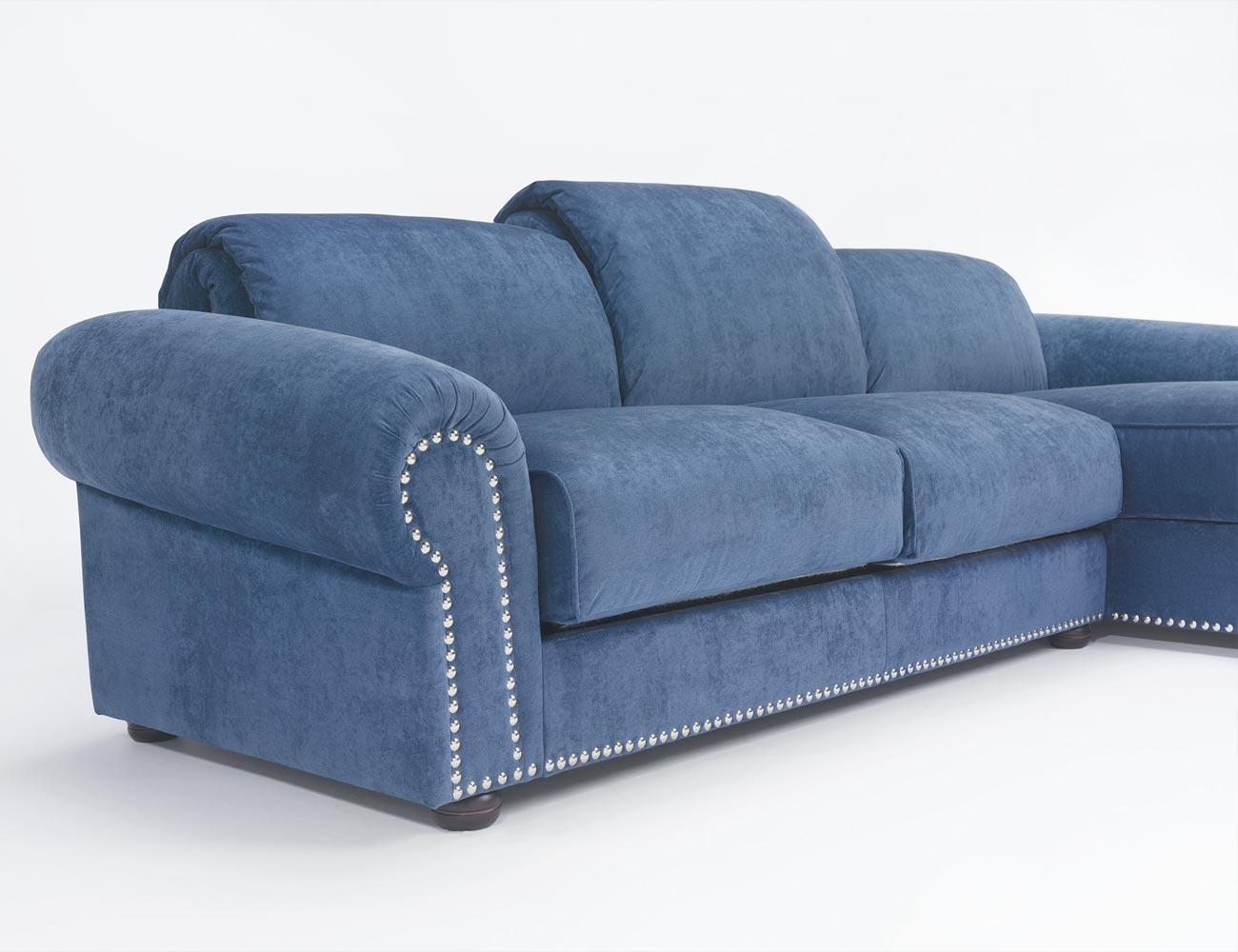 Sofa chaiselongue gran lujo decorativo azul 117