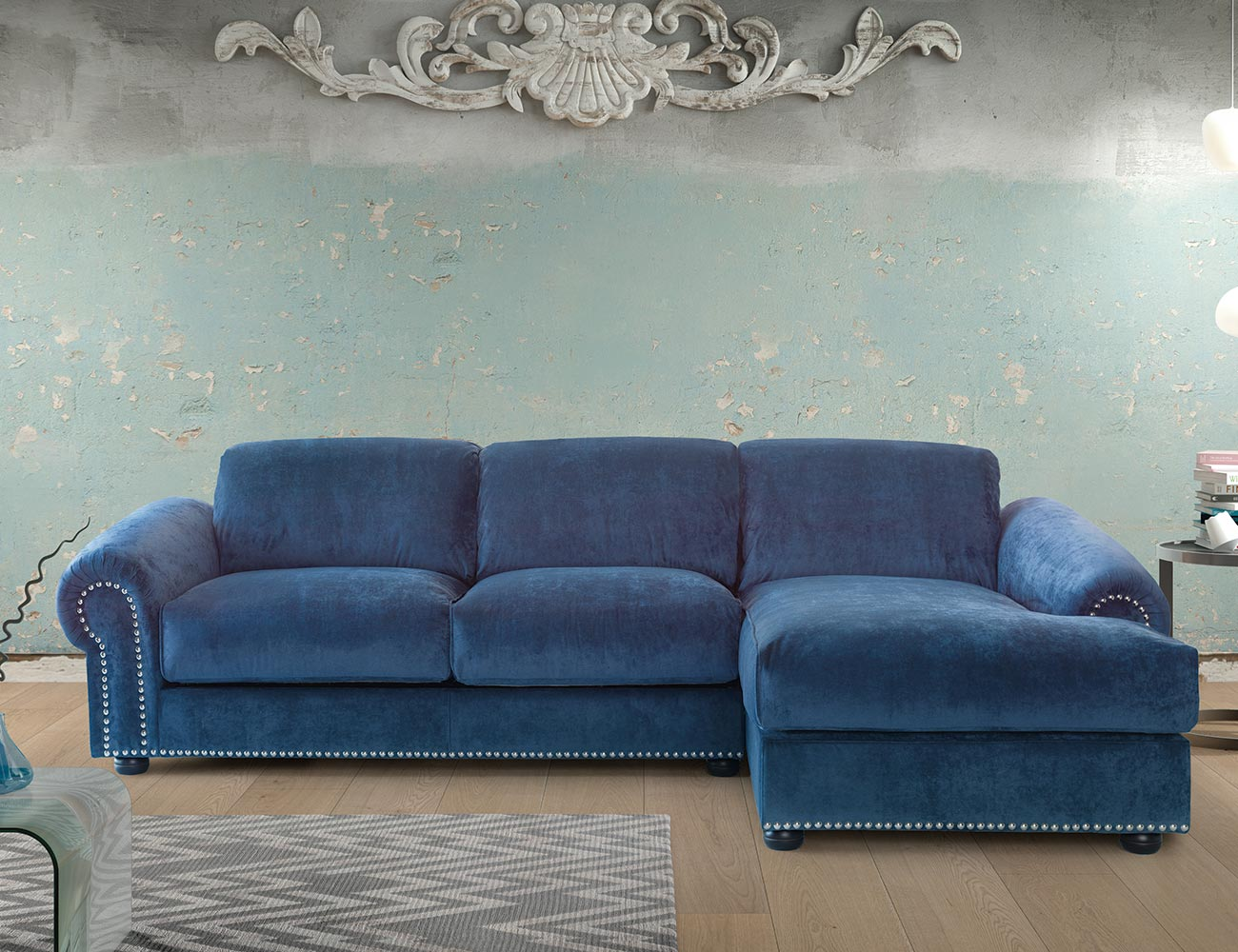 Sofa chaiselongue gran lujo decorativo azul