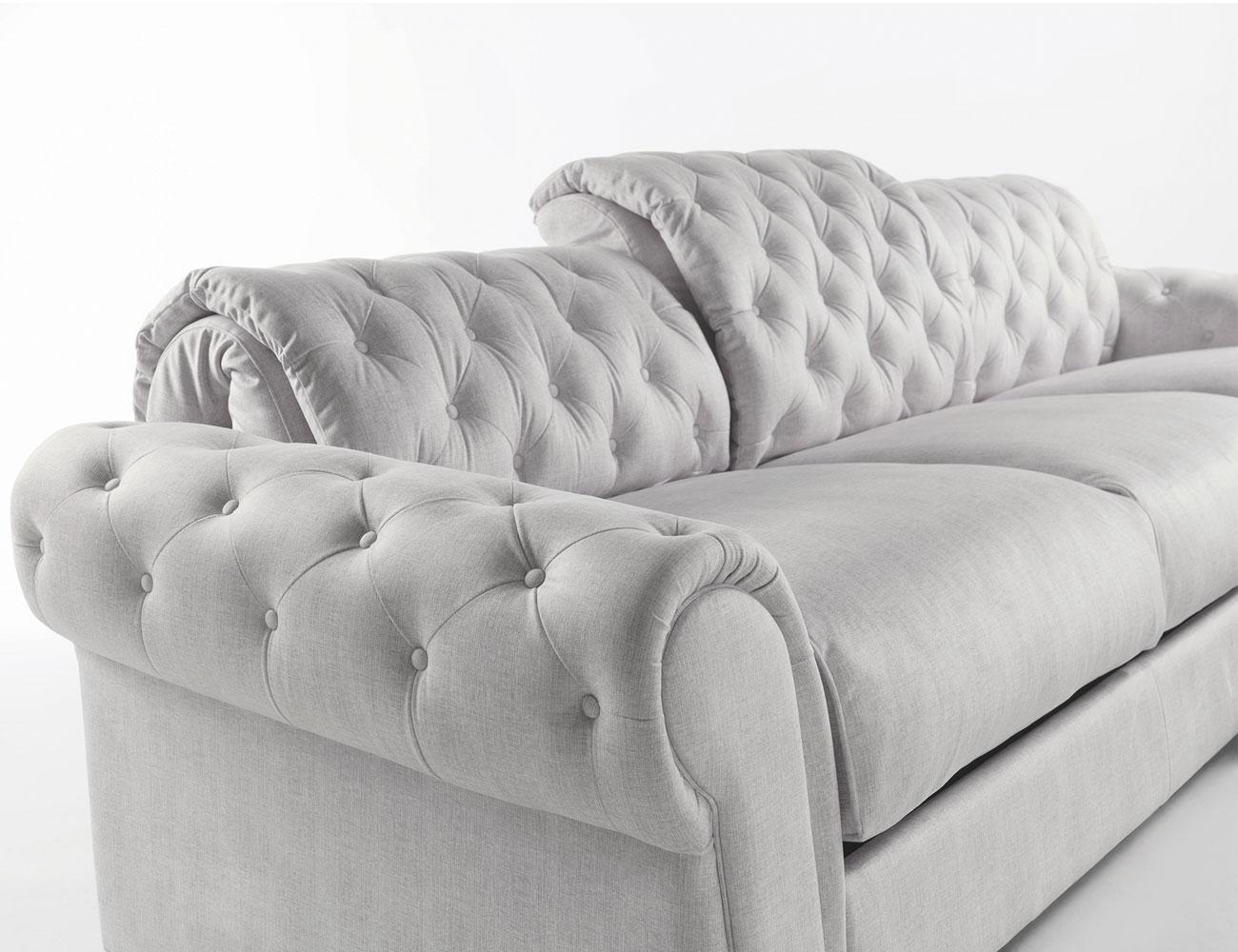 Sofa chaiselongue gran lujo decorativo capitone blanco tela 15