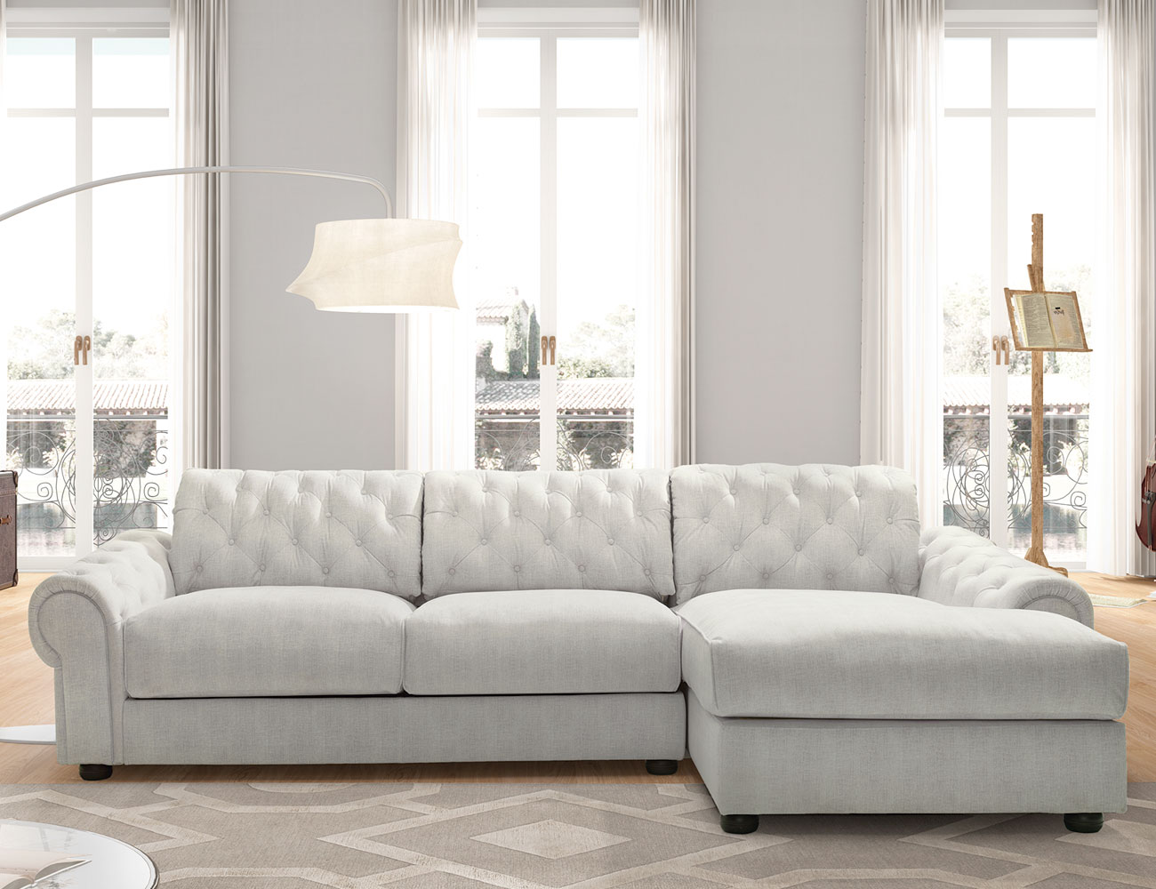 Sofa chaiselongue gran lujo decorativo capitone blanco tela