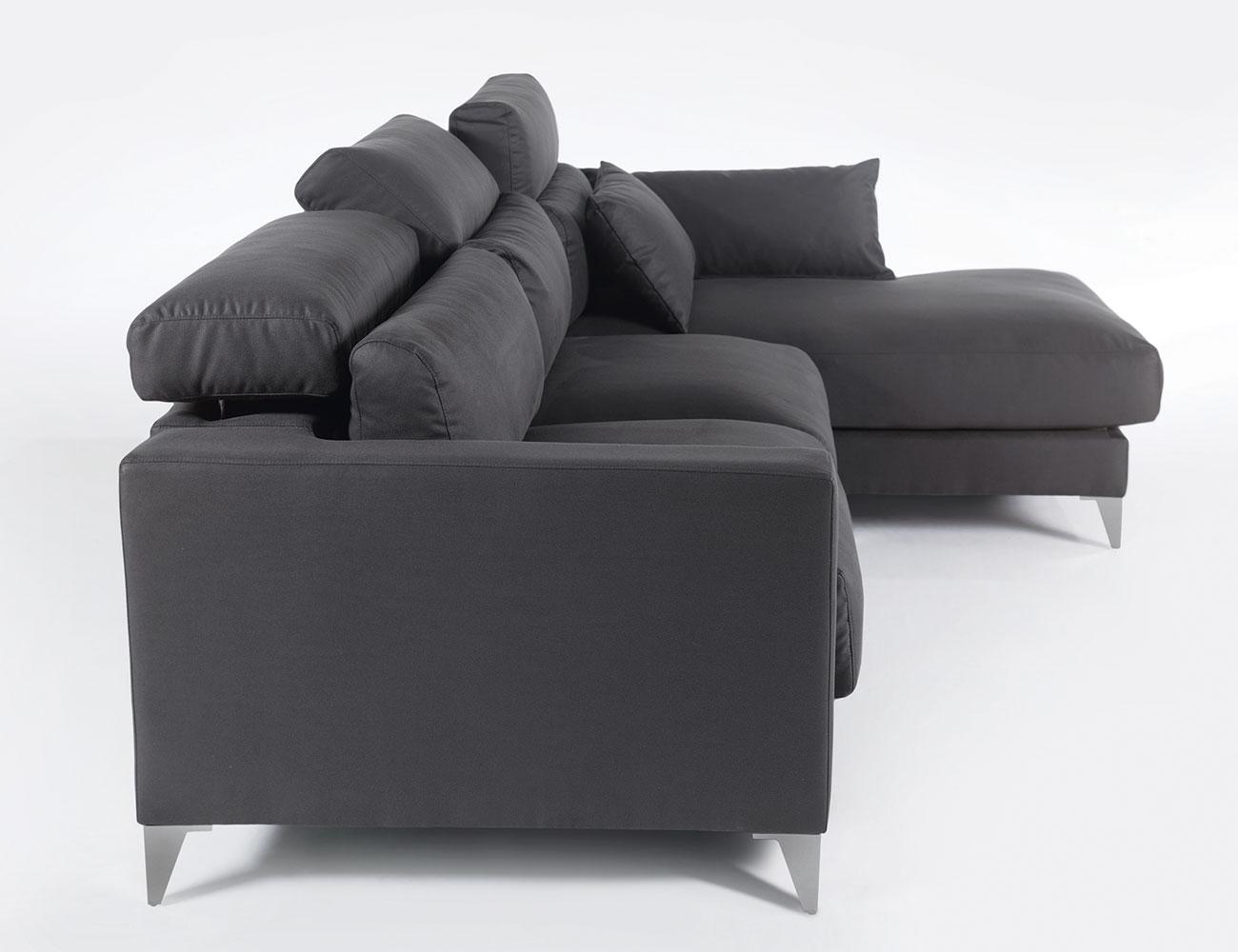 Sofa chaiselongue gran lujo decorativo grafito 124
