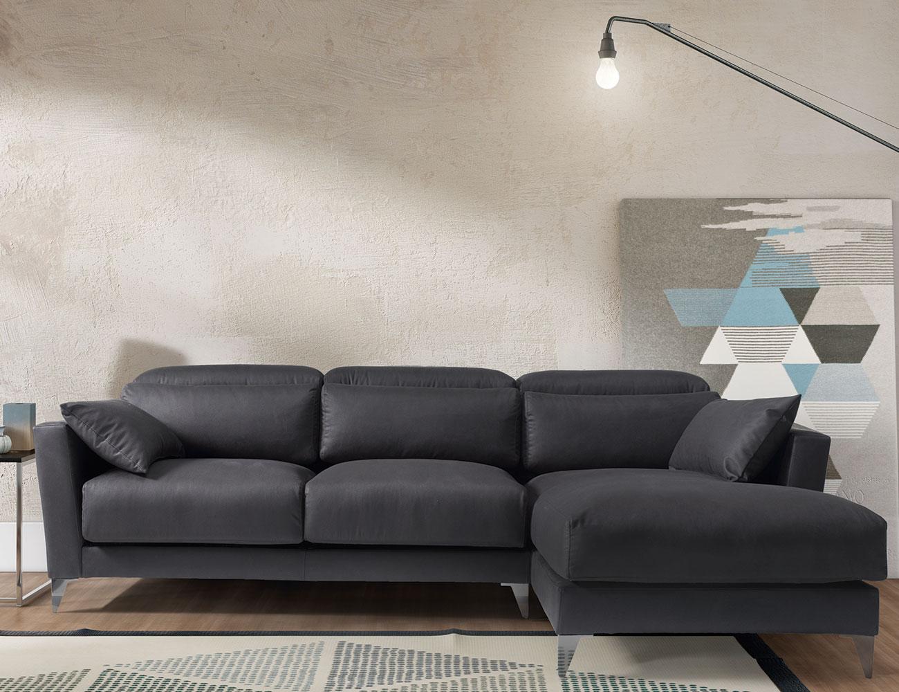 Sofa chaiselongue gran lujo decorativo grafito