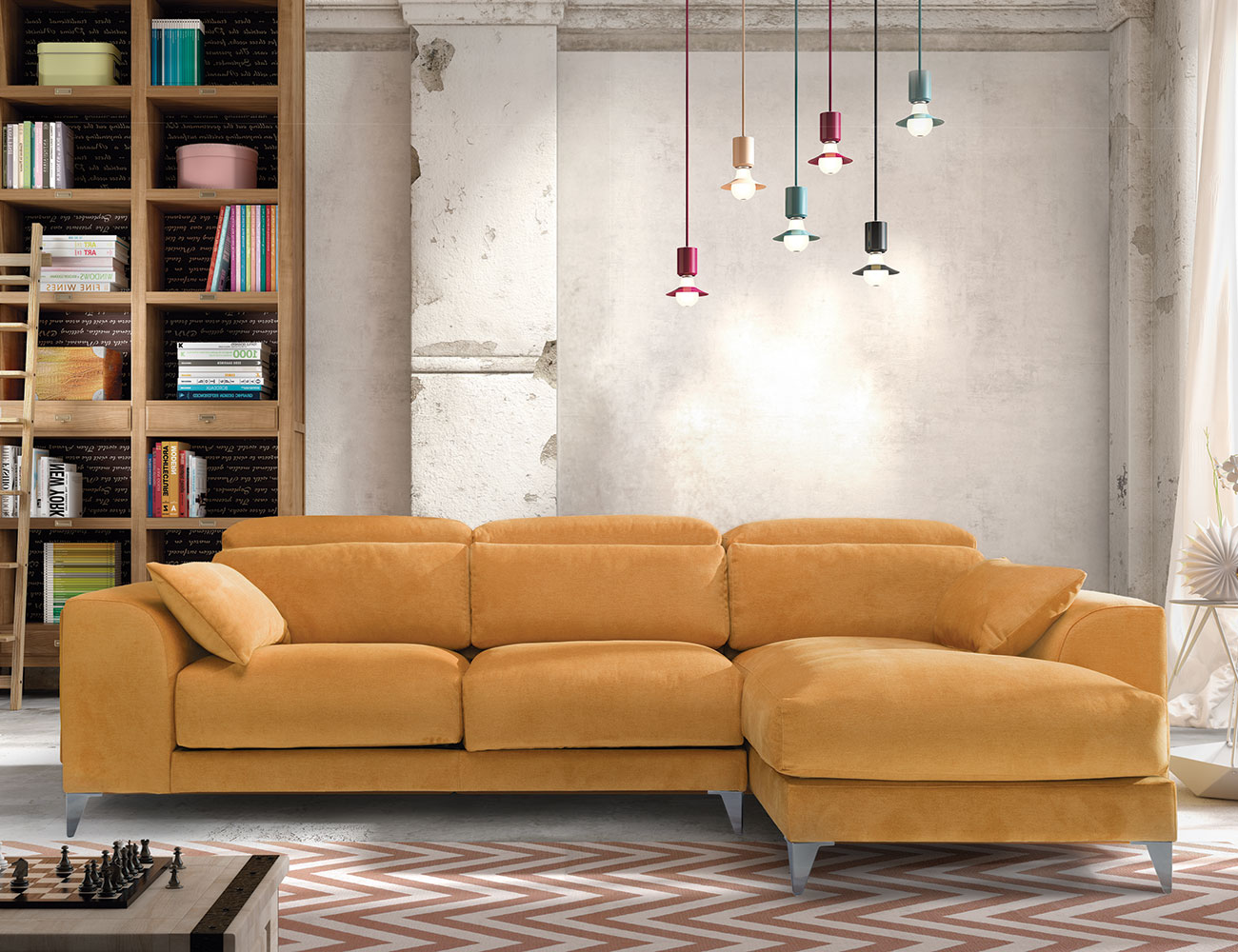 Sofa chaiselongue gran lujo decorativo patas altas amarillo 1