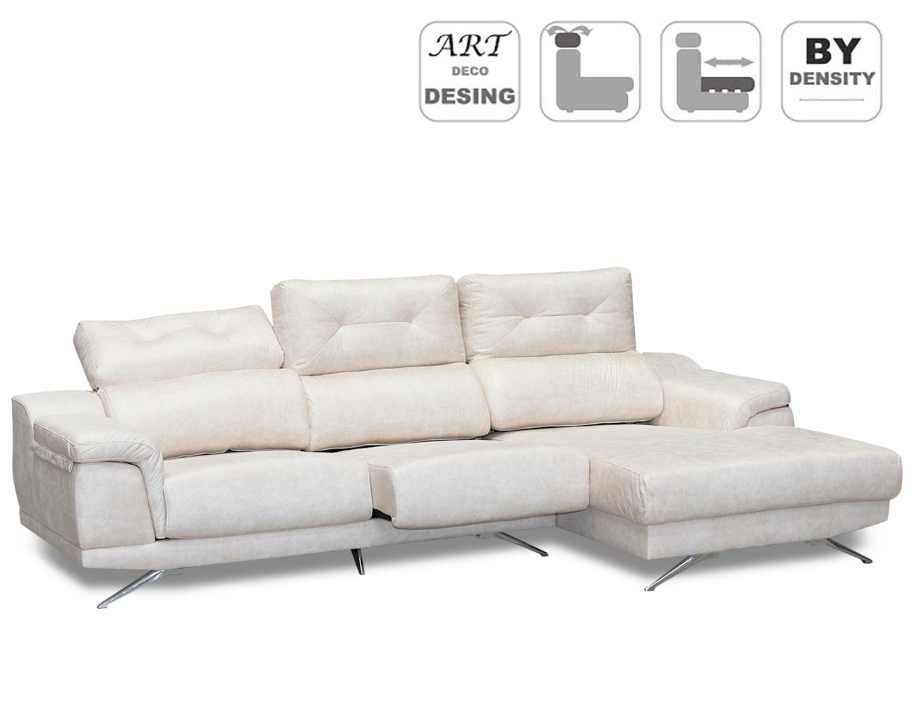 Sofa chaiselongue moderno anti manchas detalle