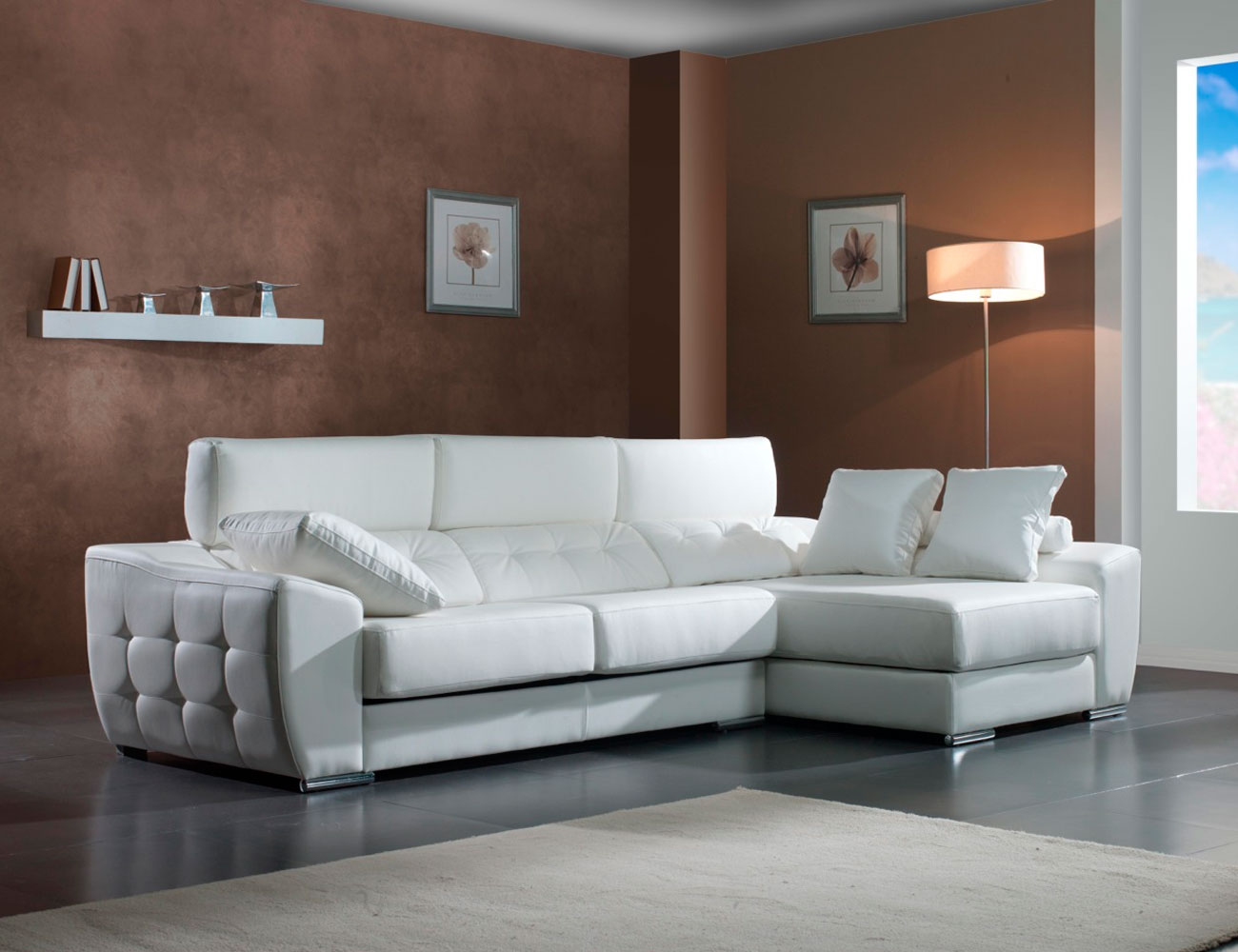 Sof chaiselongue ulisses con capiton 9171 factory for Sofas de polipiel
