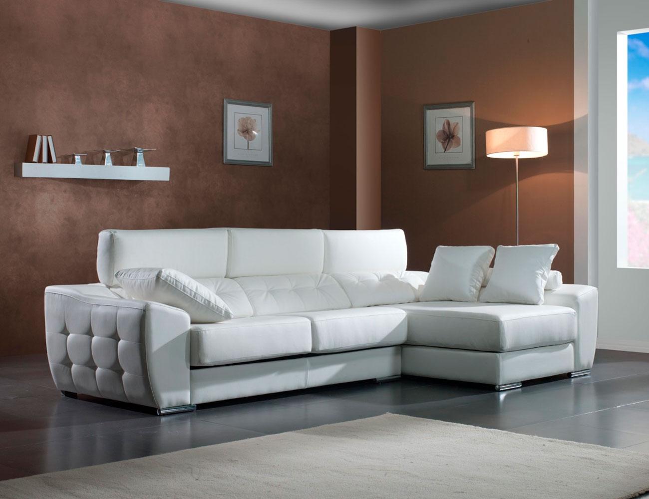 Sofa chaiselongue moderno capitone polipiel blanco 21