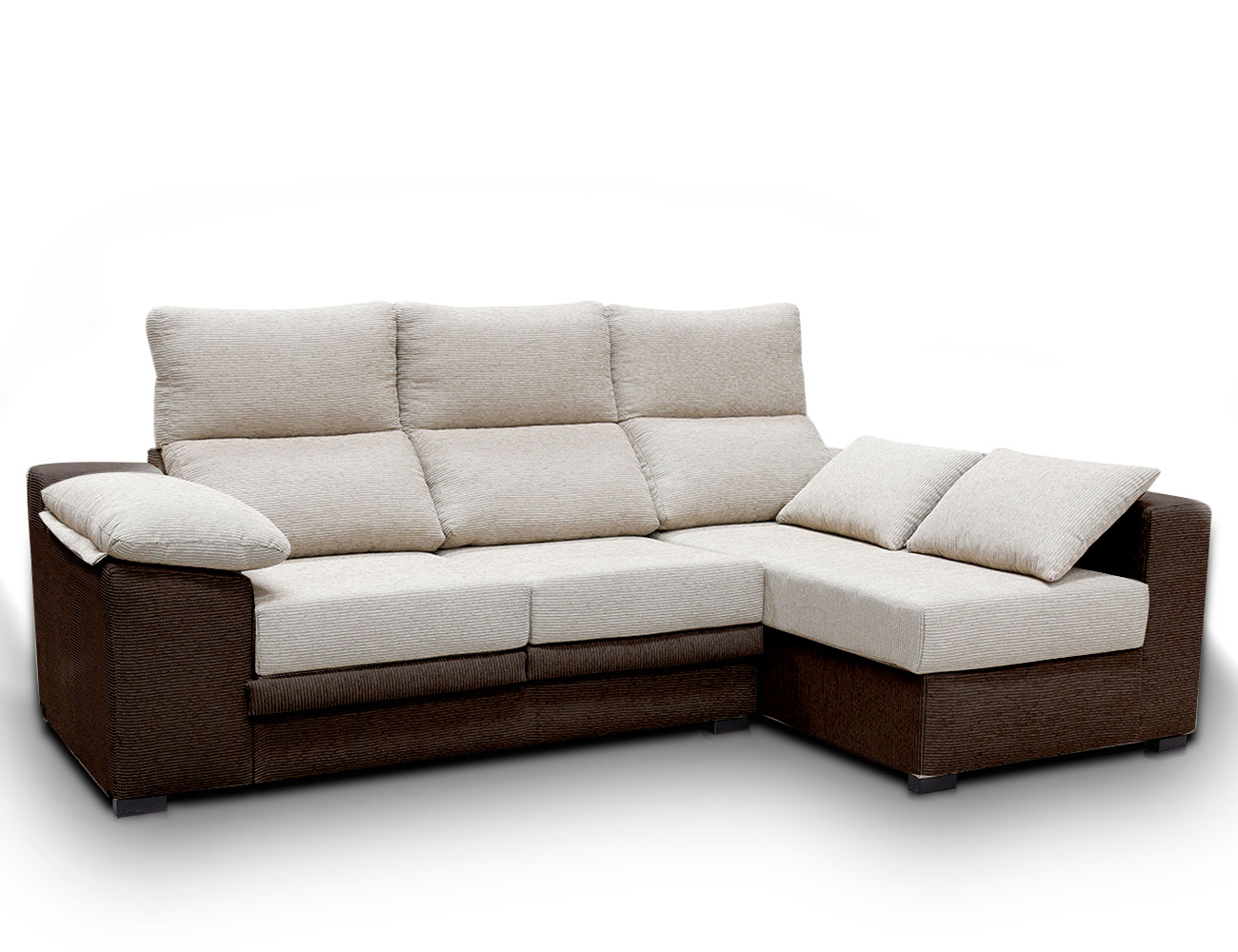 Sofa chaiselongue moderno cojines pardo cafe1