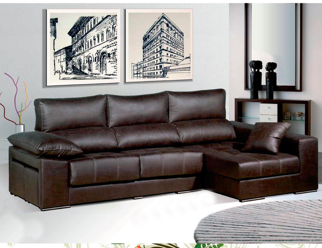 Sofa chaiselongue moderno con puffs