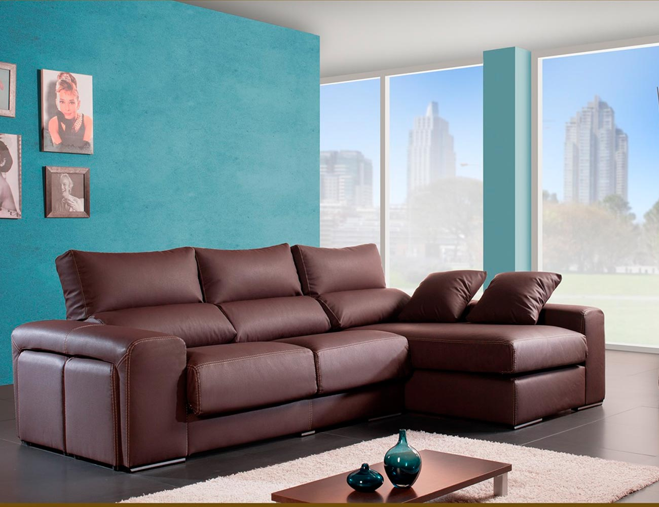 Sofa chaiselongue moderno polipiel chocolate poufs taburetes 1