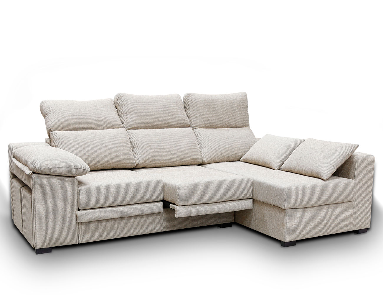 Sofa chaiselongue moderno puffs pardo 21