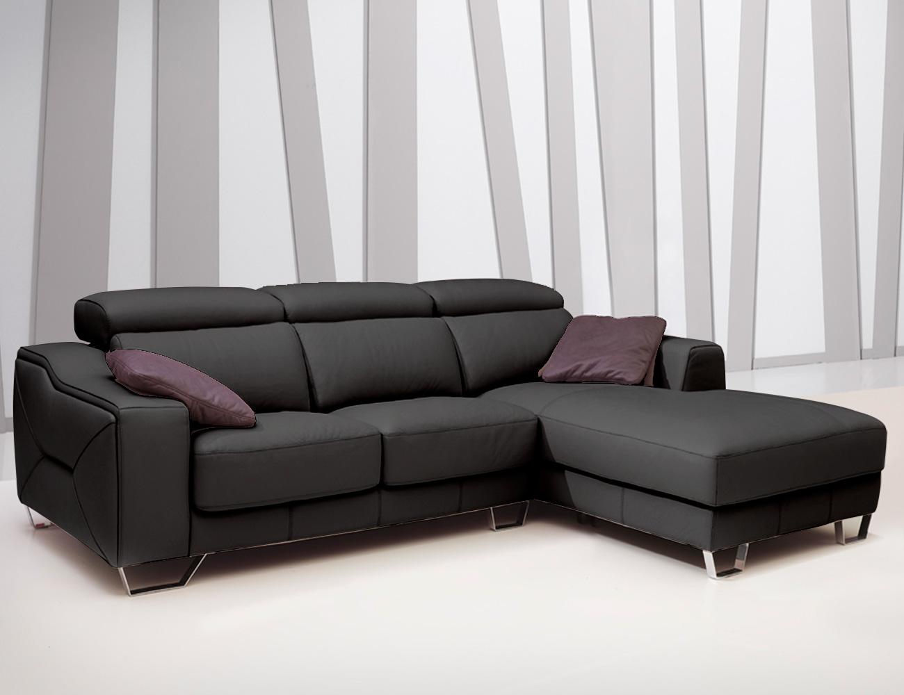 Sofa chaiselongue pedro ortiz piel espesorada antracita 1