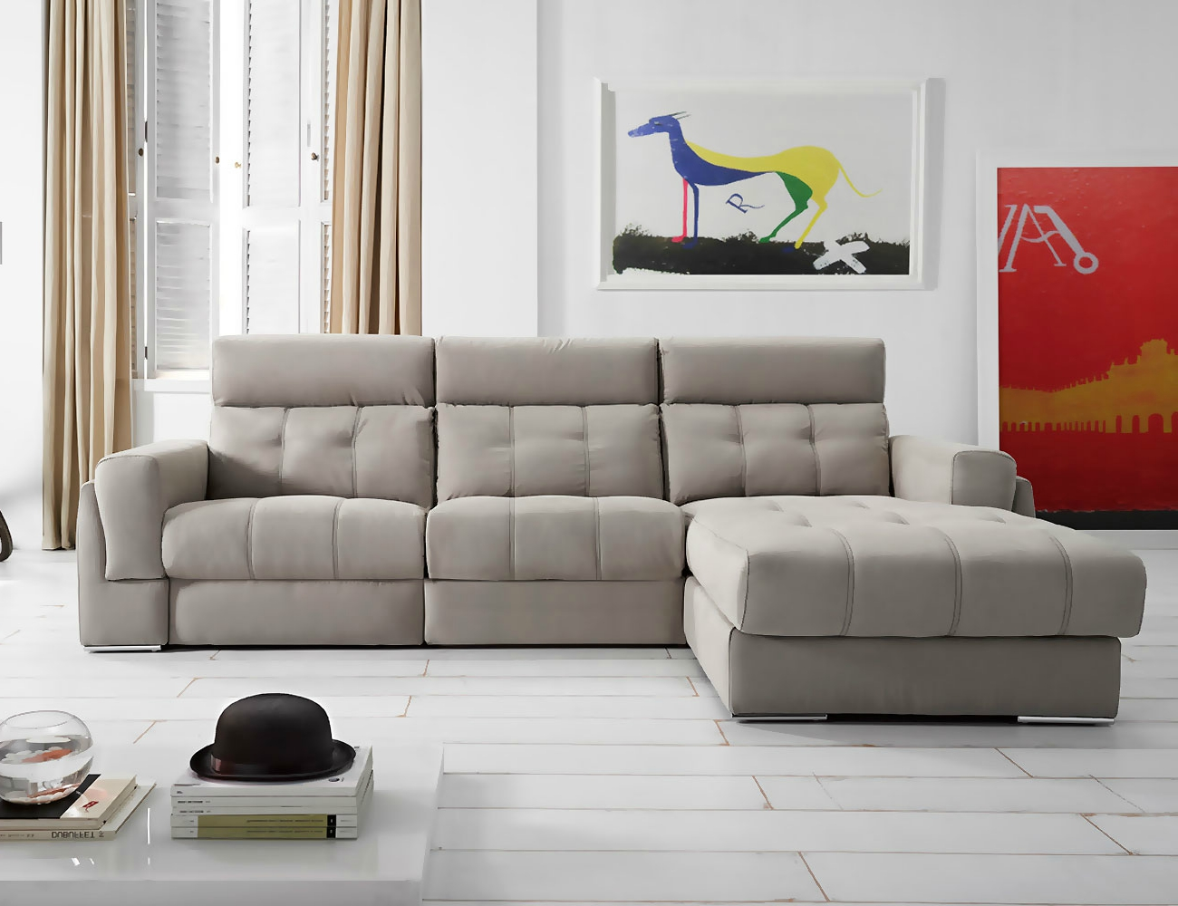 Sofa chaiselongue piel con arcon relax electrico 21