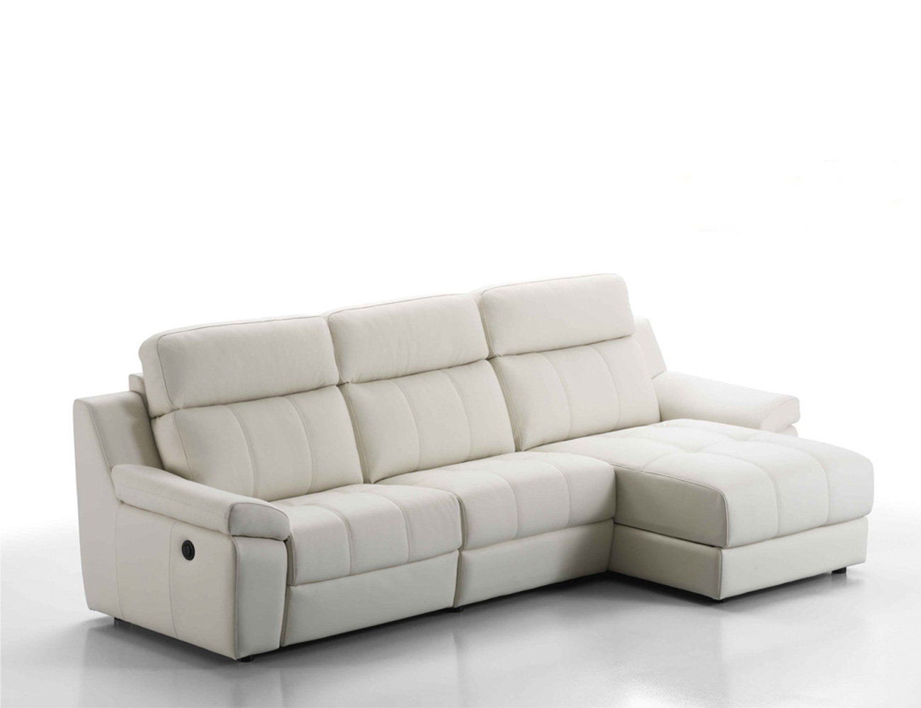 Sof chaiselongue en piel espesorada con relax el ctrico for Sofa 2 plazas polipiel