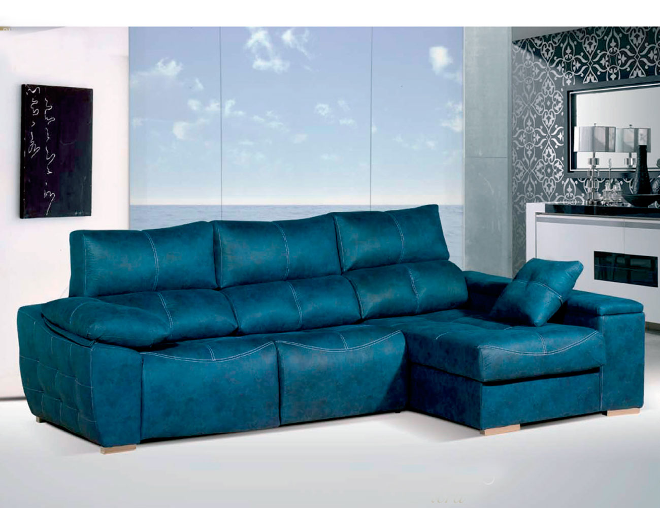 Sofa chaiselongue relax 2 motores anti manchas turquesa
