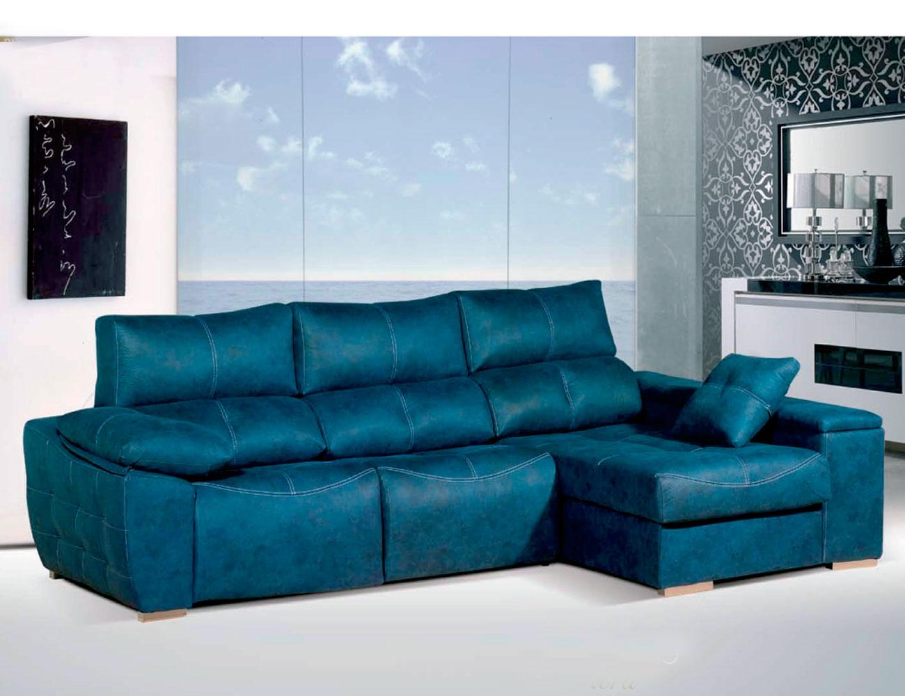 Sofa chaiselongue relax 2 motores anti manchas turquesa
