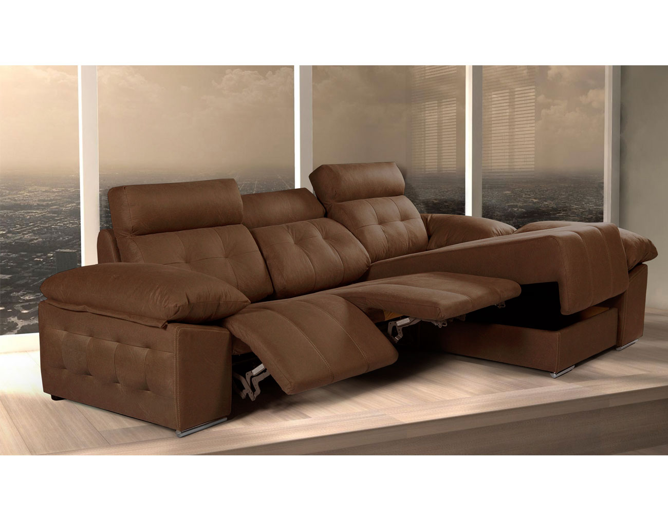 Sofa chaiselongue relax arcon electrico capitone