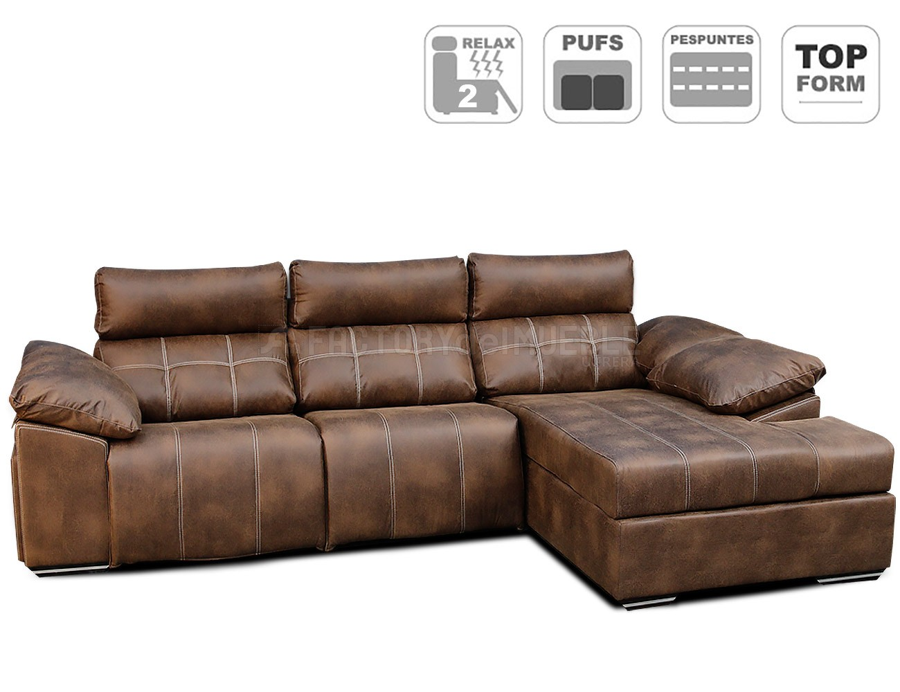 Sofa chaiselongue relax electrico 2 motores detalle
