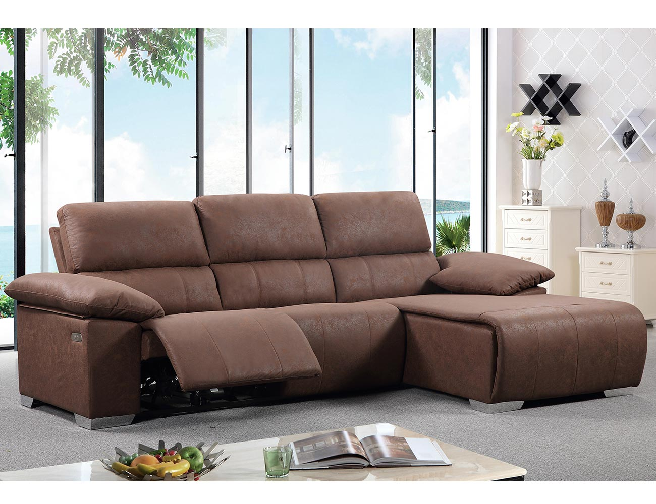 Sofa chaiselongue relax electrico chocolate