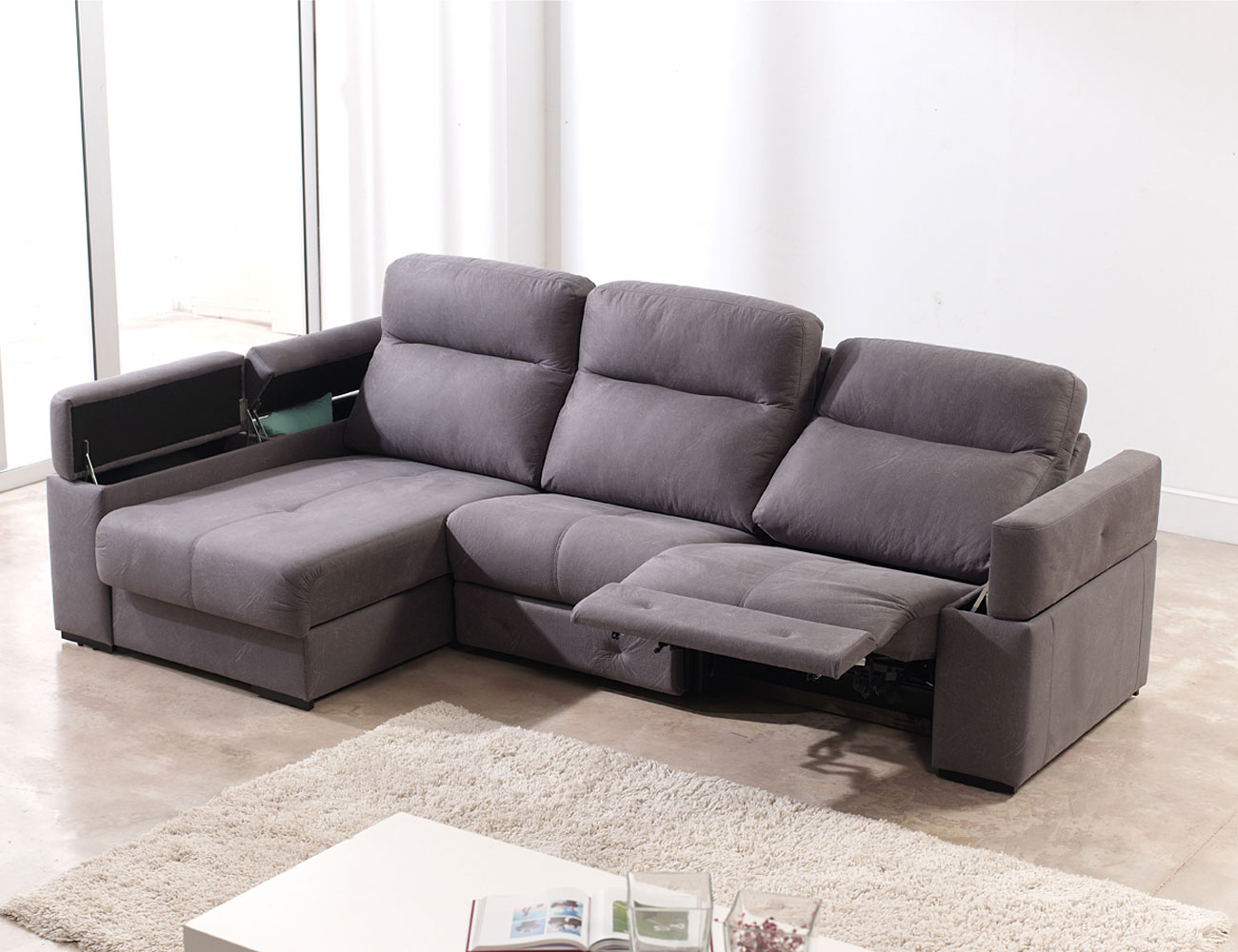 Sofa chaiselongue relax motor electrico 3 arcon 110