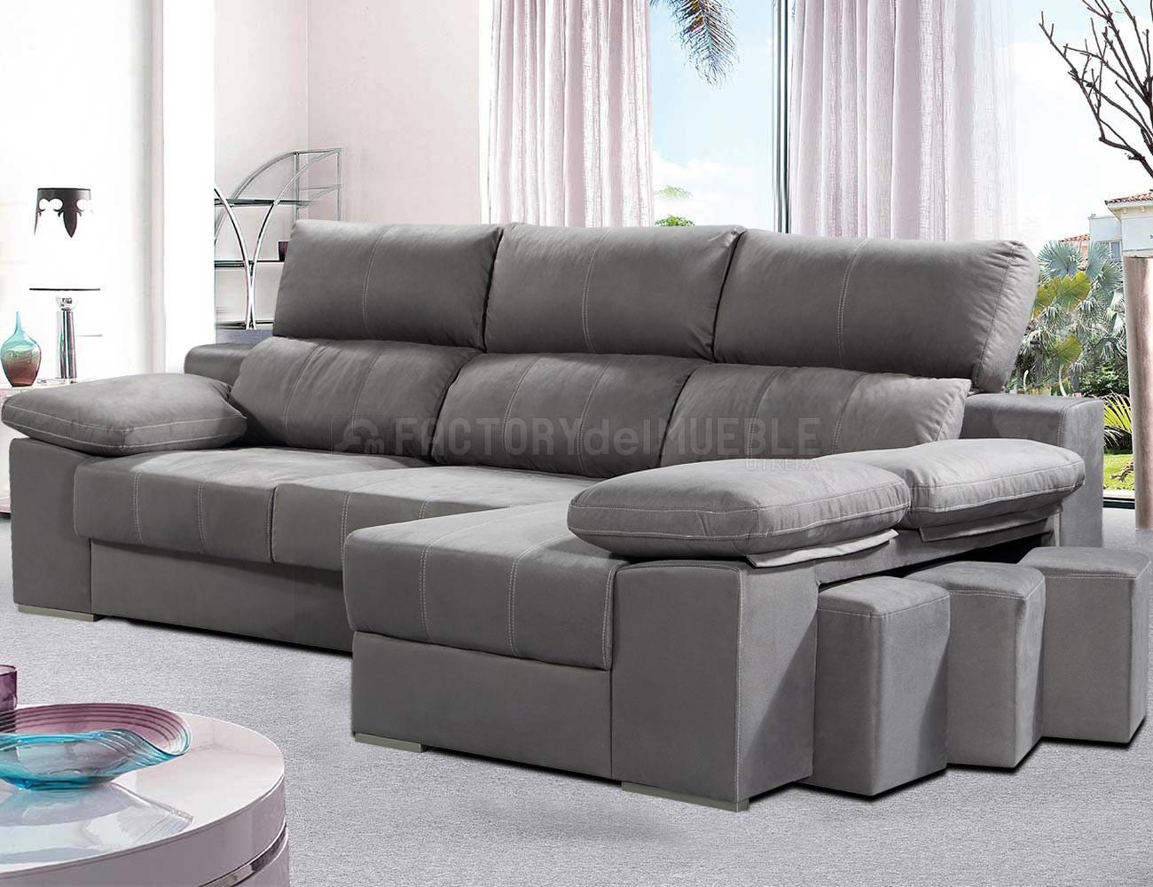 Sofa chaiselongue reversible 3 taburetes asientos extraible gris ceniza