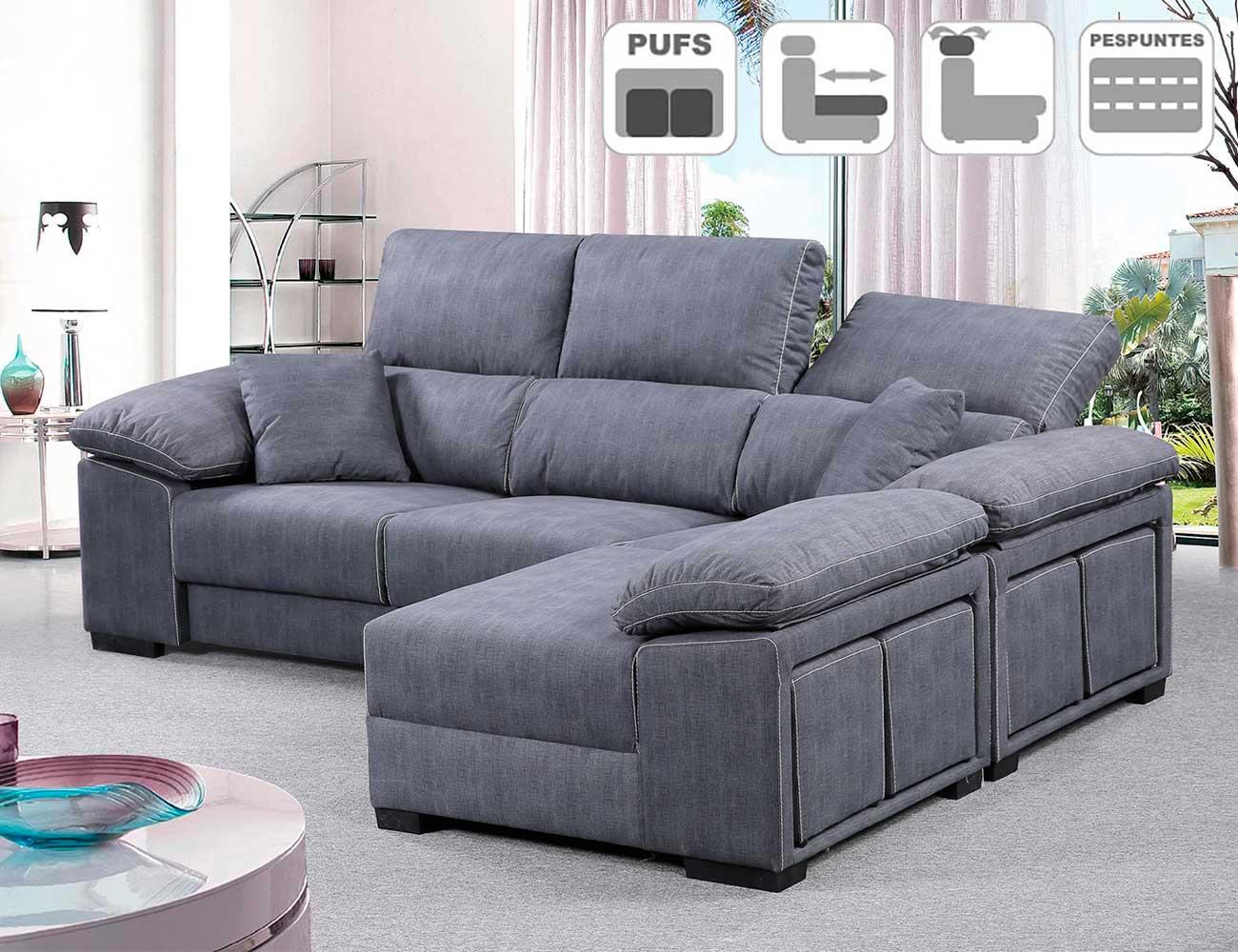 Sofa chaiselongue reversible 4 taburetes asientos extraible gris ceniza detalle