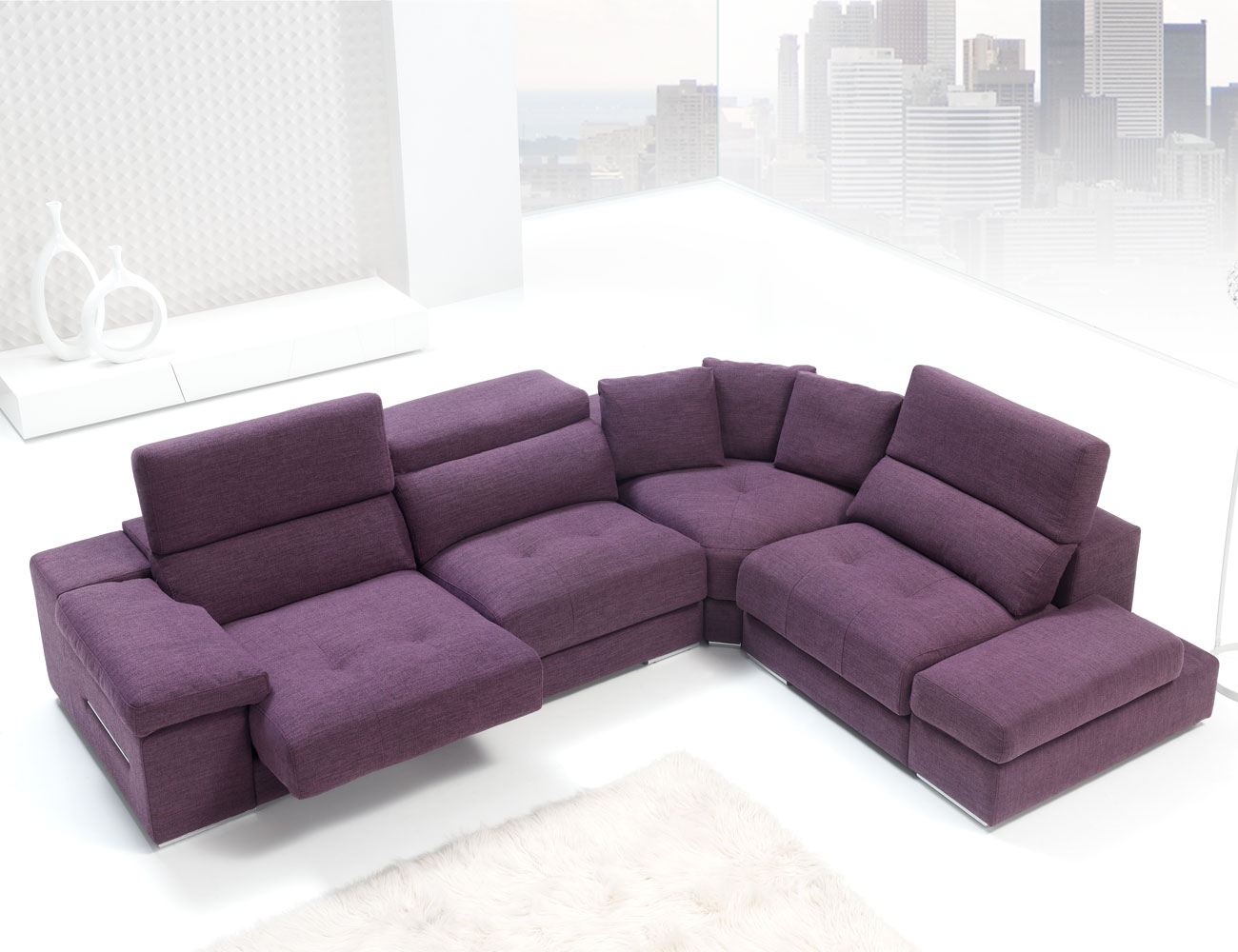 Sofa chaiselongue rincon con brazo mecanico tejido anti manchas 23
