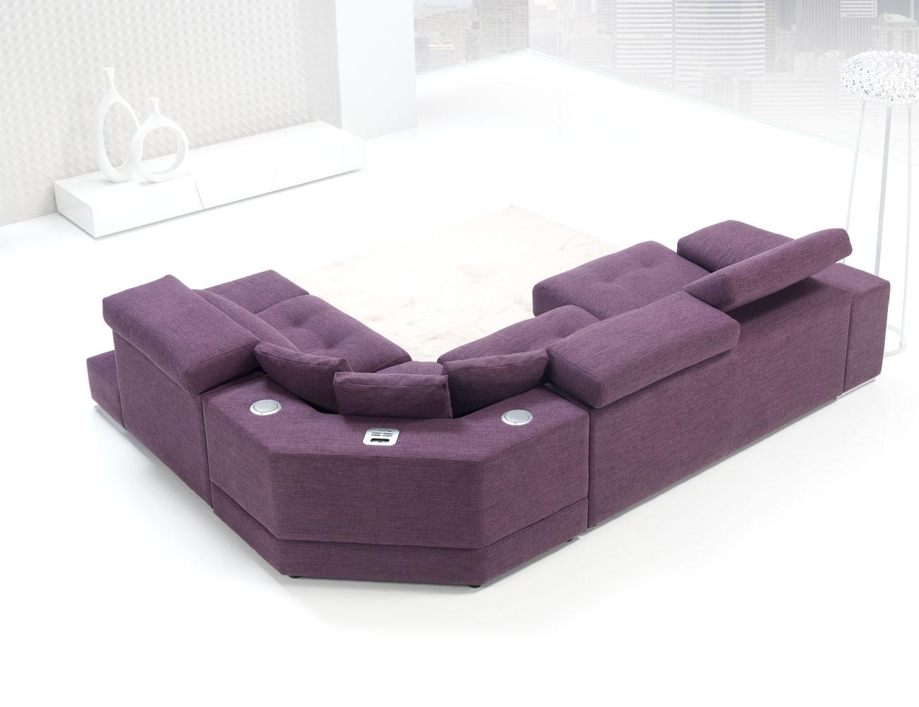 Sofa chaiselongue rincon con brazo mecanico tejido anti manchas 316