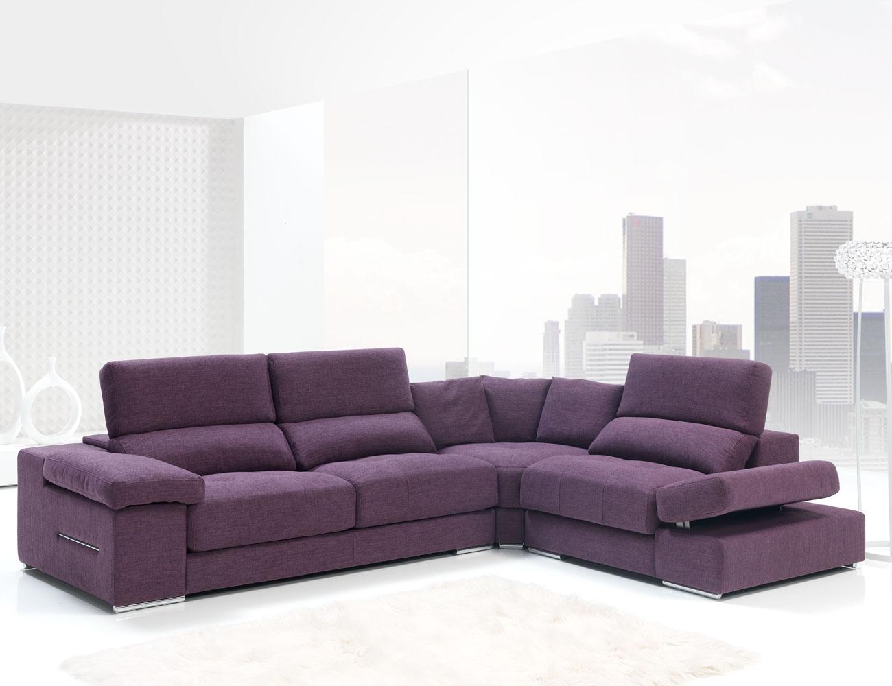 Sofa chaiselongue rincon con brazo mecanico tejido anti manchas