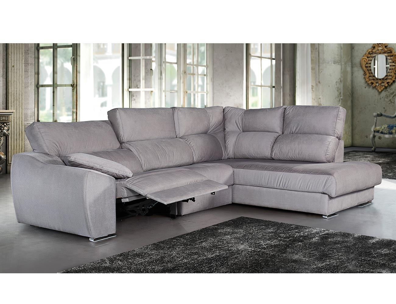 Sof 3 plazas cheiselonguen rinconera relax electrico for Sofa 1 plaza chaise longue