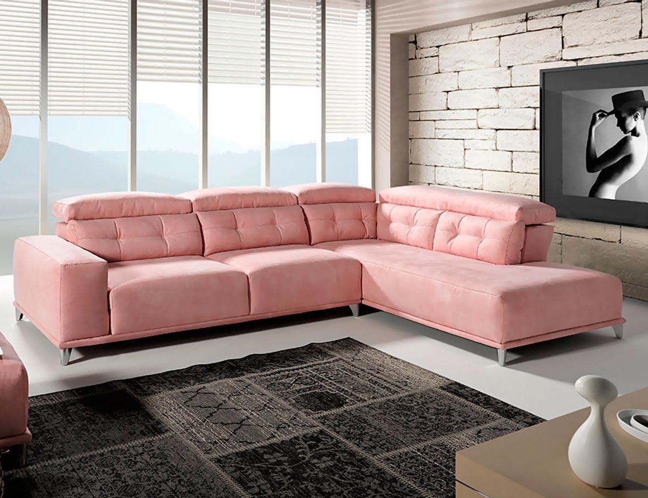 sofa rincon moderno rosa d