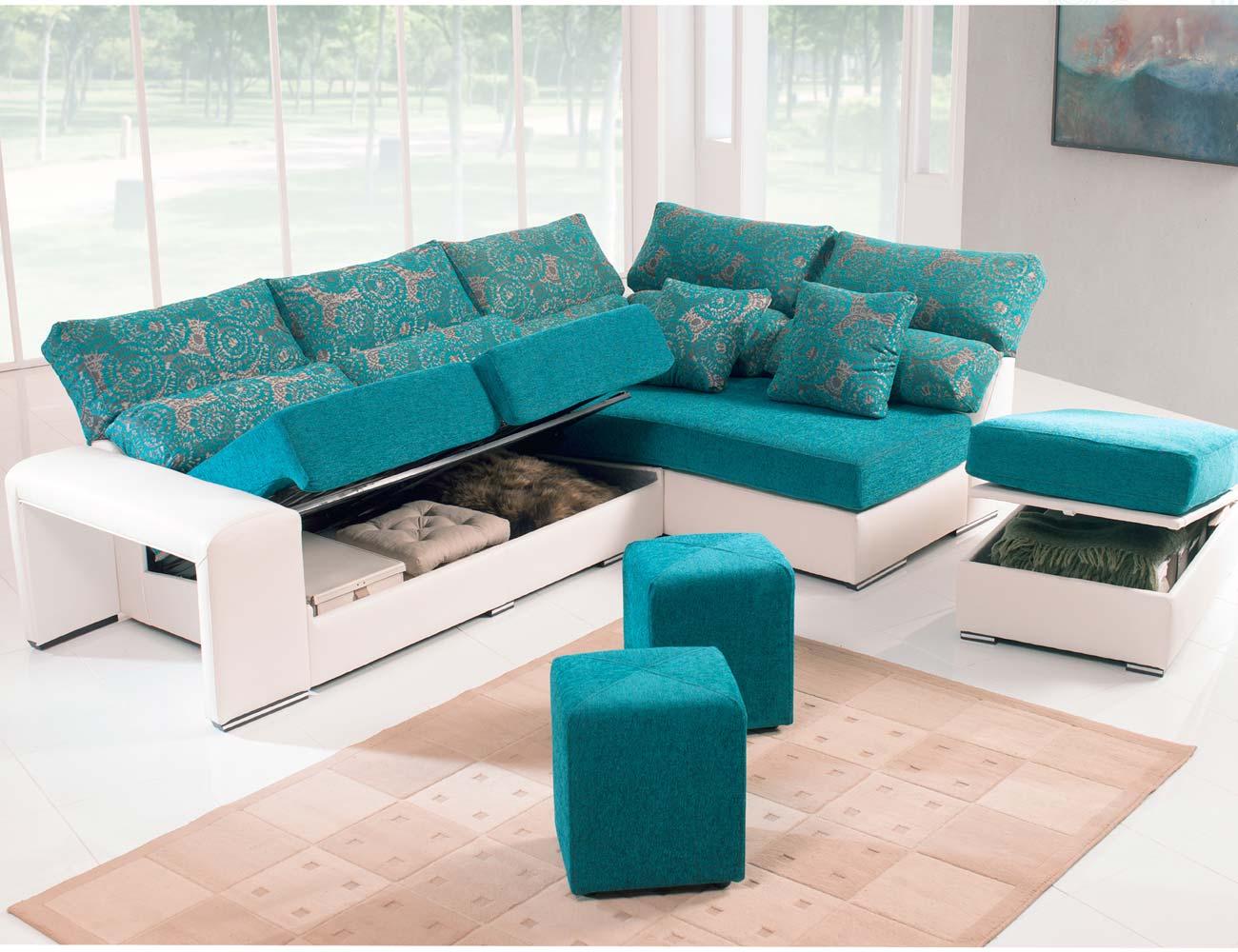 Sofa chaiselongue rincon puff arcon taburete
