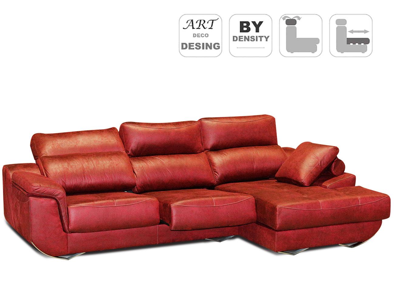 Sofa chaiselongue rojo granate moderno detalle
