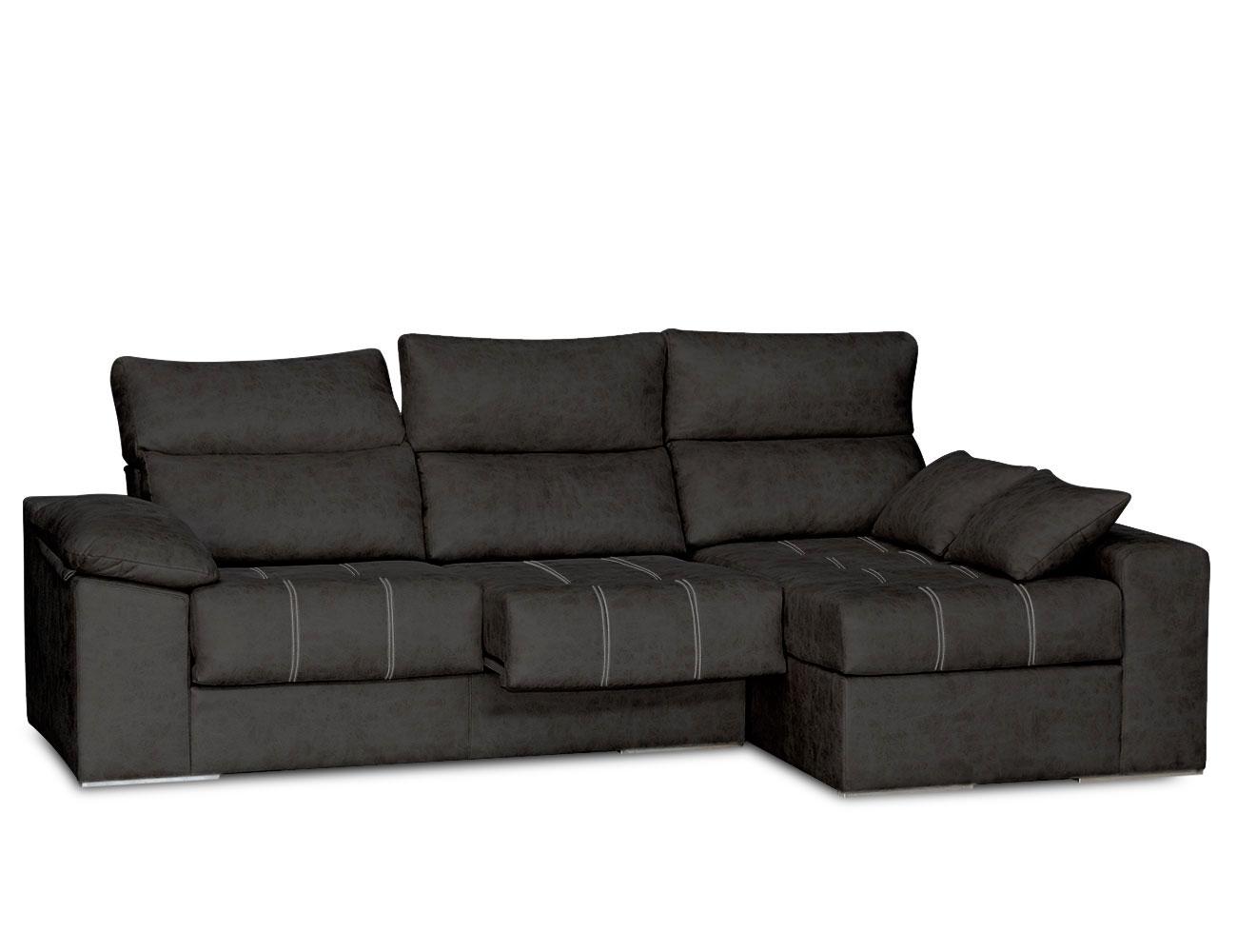 Sofa chaiselongue surf negro  con pespuntes contrastados