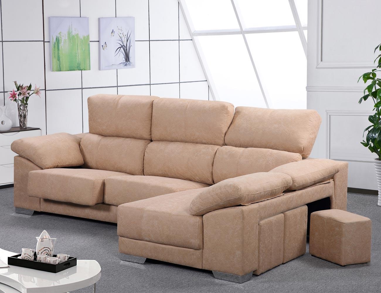 Sof chaiselongue reversible con asientos extra bles y cabezales reclinables en tela jade 19479 - Cabezales de tela ...