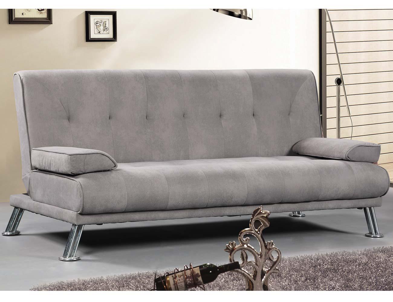 Sofa clic clac tapizado gris marengo patas cromadas