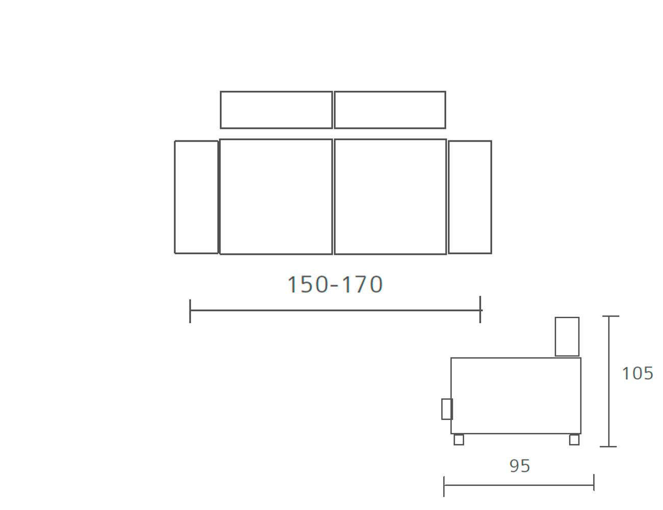Sofa pedro ortiz fijo 2 plazas 150 170