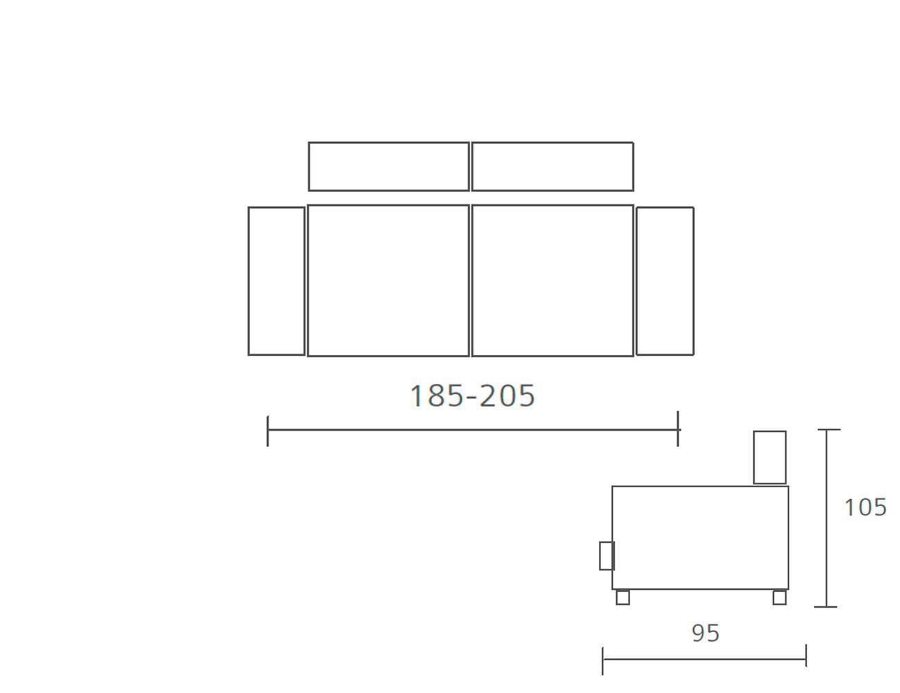 Sofa pedro ortiz fijo 3 plazas 185 205