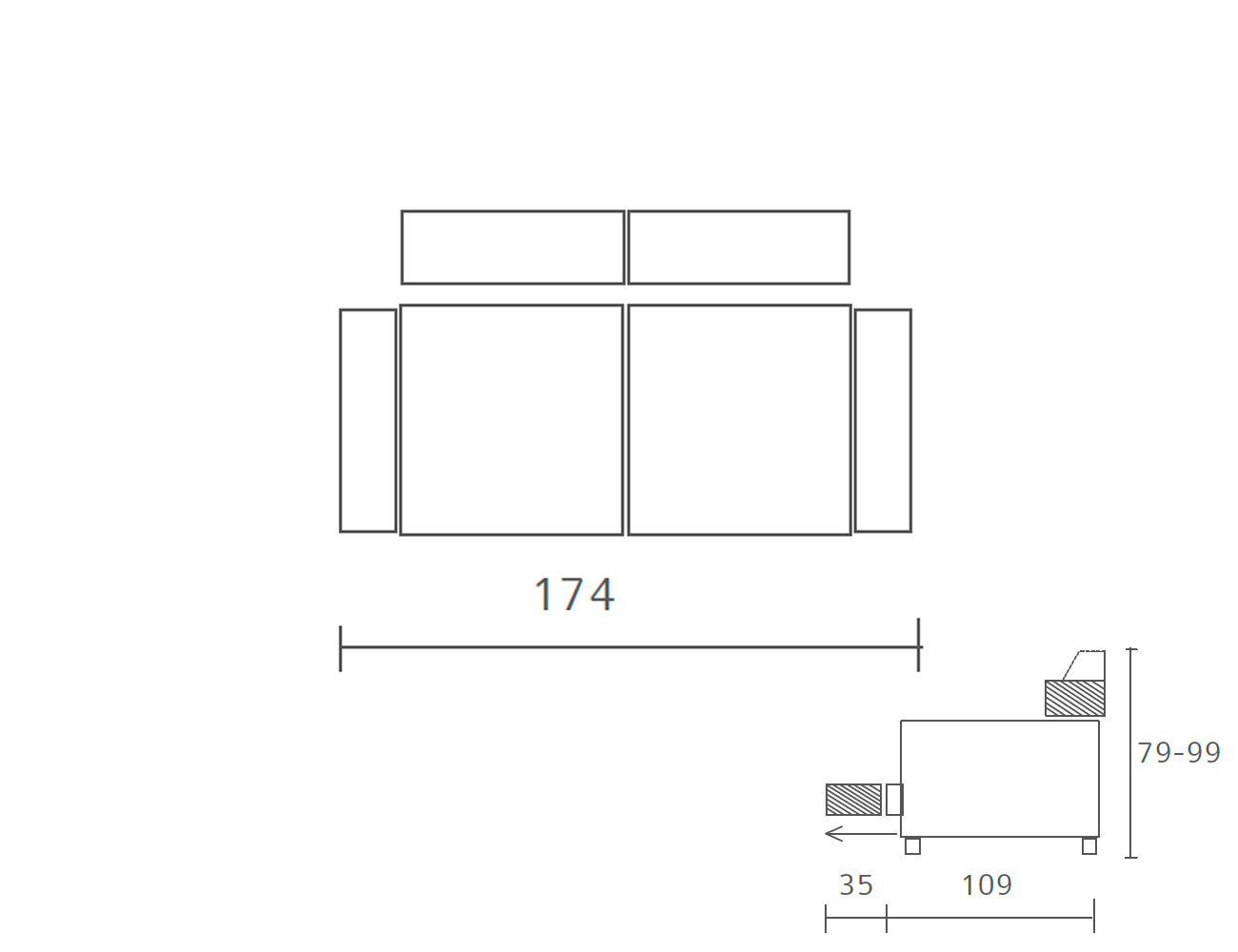 Sofa piel 174
