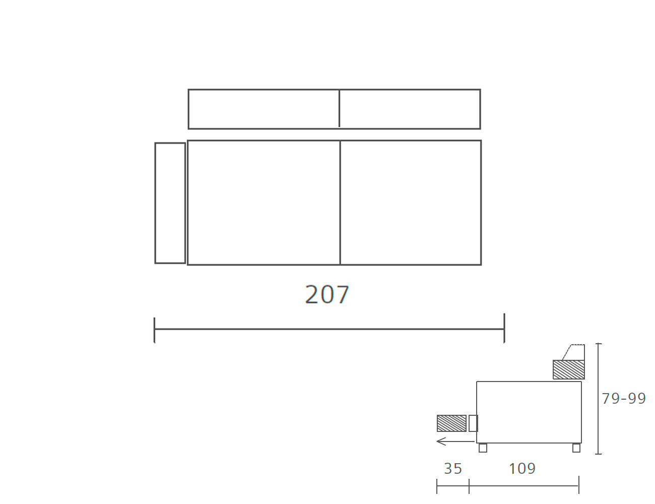 Sofa piel 2 plazas 207