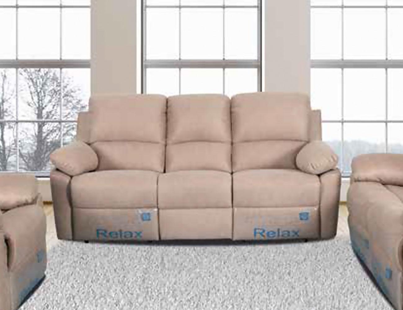 Sof de 3 plazas en piel con dos asientos relax con for Sofa 2 plazas polipiel