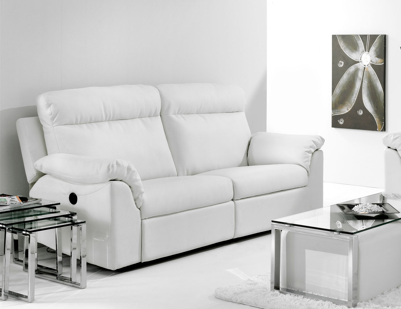 Sill n relax con palanca pared cero en simil piel 2209 for Sillon relax piel blanco