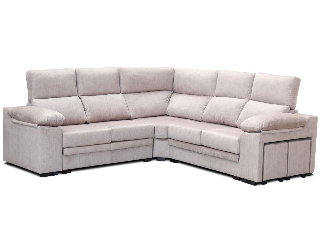 Sofa rincon rinconera beig pufs 2