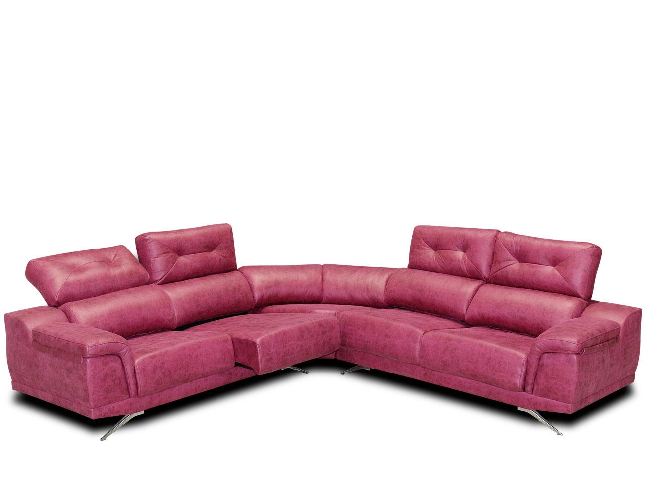 Sofa rinconera tejido antimanchas fucsia rosa