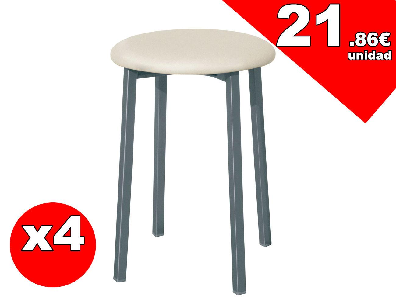 taburete de cocina con asiento en polipiel 3543