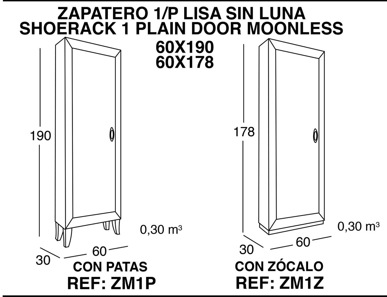 Zapatero 1p lisa sin luna