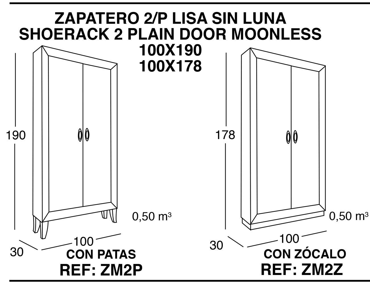 Zapatero 2p lisa sin luna