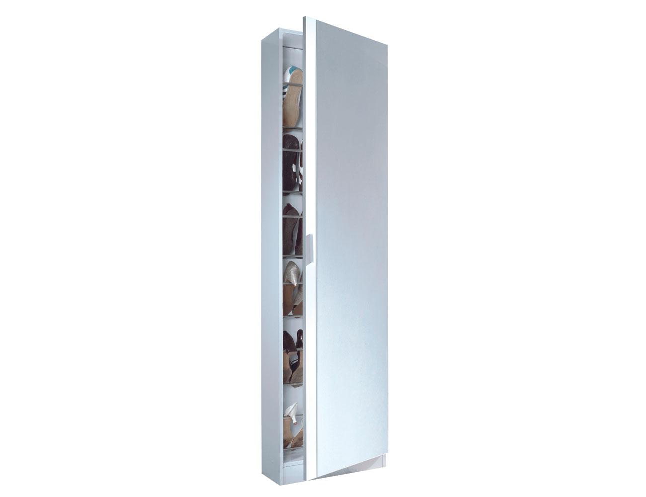 Armario con cuatro puertas color blanco brillo factory for Armario alto zapatero con espejo