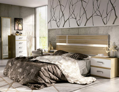 01 dormitorio matrimonio cabecero luces leds sinfonier mural cambrian blanco