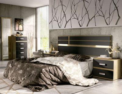 03 dormitorio matrimonio cabecero luces leds sinfonier mural cambrian grafito